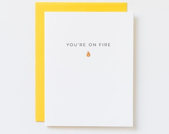 Funny Well Done Card, You're on Fire Card, Cute Congratulations Card, Way to Go Card, Celebration Card, Graduation Card, Achievement Card