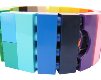 Rave PLUR colorful bracelet - made from LEGO (R) bricks on stretchy cords