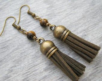 Tiger Eye Tassel Earrings, Tigers Eye Gemstone Earrings, Brown Faux Leather Tassel Earrings, Boho Vegan Dangle Earrings Antiqued BRONZE, TE6