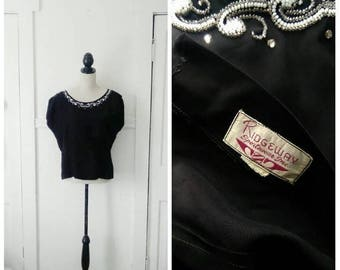 20% OFF / The Howling Winds 1940s Black Blouse with Rhinestones & White/Clear Seed Bead Detail
