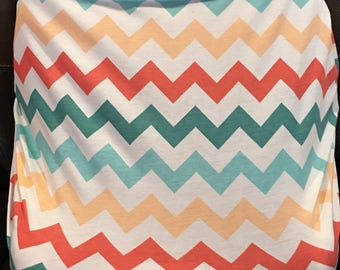 Multi color chevron Stretchy car seat cover -use as nursing cover or shopping cart cover to!