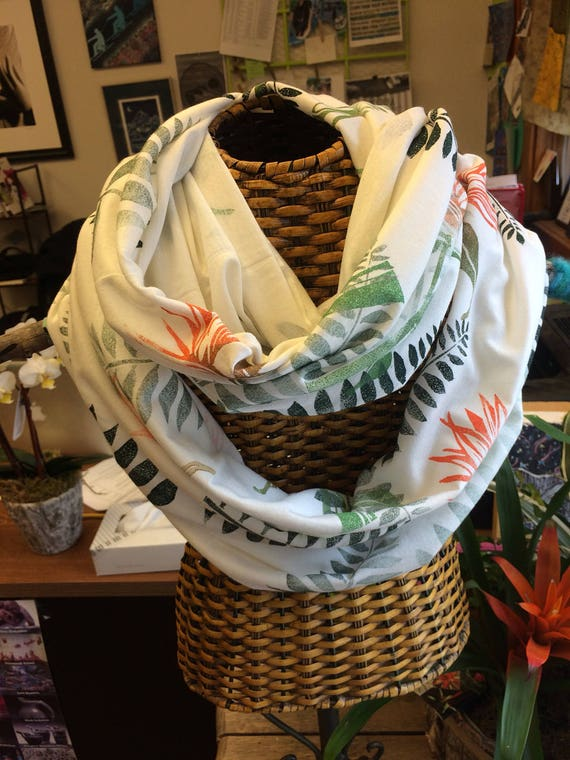 Birds of Paradise bamboo and cotton infinity scarf.