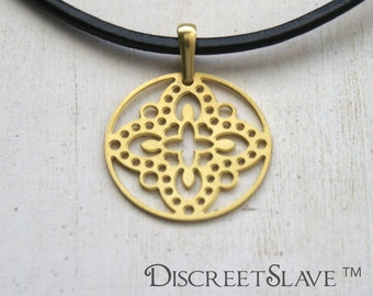 Raw brass Female slave pendant. Lace design. For owned slaves, submissives and persons into BDSM relationships