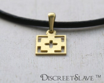 Raw brass Unowned Female slave pendant. For unowned slaves, submissives and persons into BDSM relationships