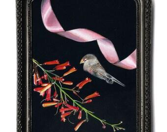 Ribbon series no.2. Acrylic on Italian linen. 13 x 18cm (artwork) + metal black frame