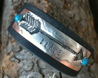 Rustic Western Cuff with Arrow - Molten Solder, Metal Stamped Leather Cuff