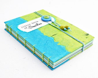 Little Book of Smiles coptic bound / blue green journal / eco friendly journal / beach travel journal / memory book / book with envelopes /