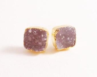 Gold Edged Grey Square Druzy Studs, Neutral Stone Earrings, Light Purple Quartz, Sparkle Bling, Christmas, Stocking Stuffer, Gifts for Her