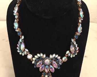 Blue Aurora Borealis Rhinestone 1950's Vintage Necklace