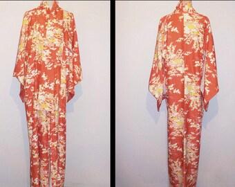 SALE 30%off!! - Vintage kimono - Floral garden, Tiny butterfly