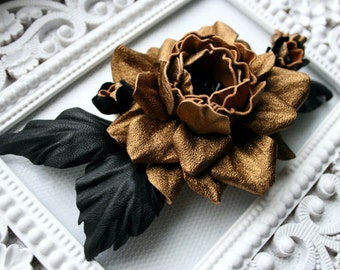 Dark Gold/ Black Leather Rose Flower Brooch/Hair Clip