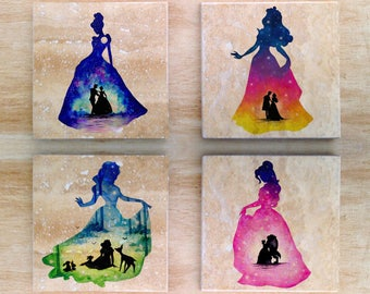 Disney Watercolor Memories Stone Coasters (Set of 6) - Disney Princesses Ariel Snow White Pocahontas Cinderella Belle Aurora Sleeping Beauty
