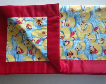 Large Baby Blanket Rubber Ducks Flannel with Red Satin Edging Gift Baby Shower Nursery Lap Blanket Photo Prop Christmas Gift Duckies Blue