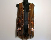 RESERVED for Gina-Maria Leather Vest with Glass Beaded Fringe