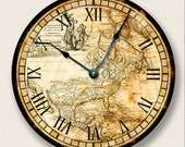 """VINTAGE OLD MAP North America Wall Clock - Western Hemisphere -  Antique Old World - Large 10.5"""" Wall Clock - Round Wall Clock"""