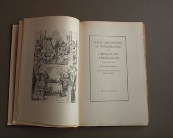 Alice in Wonderland  & Through The Looking Glass 1930 Deluxe edition  illustrations  by John Tenniel  gorgeous rare book