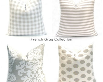 Decorative Pillow, Gray Pillow , Damask  Pillow, Gray Pillow Cover, French Country , Bedding, Pillow, Striped Pillow,