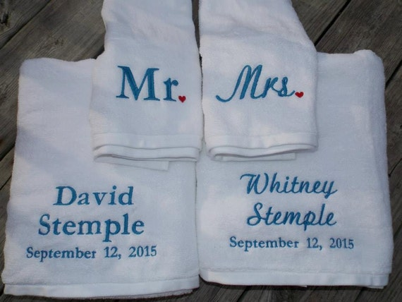 Cotton Wedding Gift: Couples Towel Set Wedding Gift Anniversary Towels Cotton