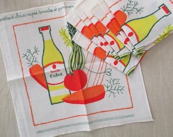 8 vintage french napkins, 1950-1960, Huile Calvé, France, Mid century, Serviettes, Retro, NEVER USED