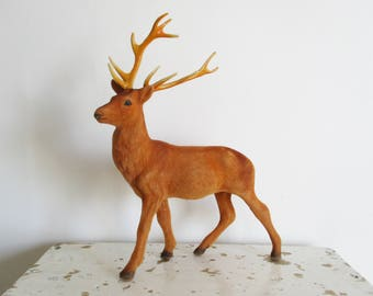 Vintage flocked buck stag deer, Plastic figurine, Antlers, Velvet animal toy, Cerf floqué, 1960