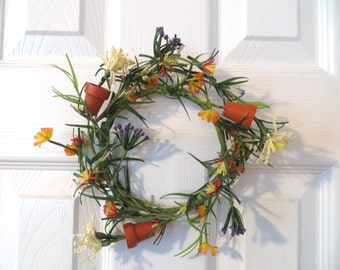Wreath Flowers & Terra Cotta Pots Cheerful Decor
