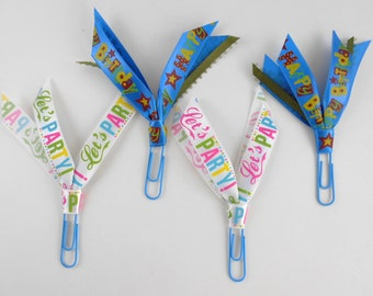 Planner Accessory Happy Birthday Lets Party Bookmark Paper Clip Ribbon Clip Handmade Journal Clip Gift Exchange Christmas Stocking Stuffers