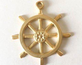 Ship's Wheel Pendant - Gold Plated - 40mm
