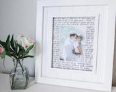 8x10 handwritten matte: first dance lyrics, wedding vows, anniversary gifts