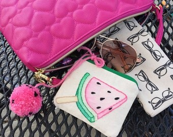 Watermelon Pop Mini Zip Pouch Wallet // Hand Embroidered // Watercolor // Handmade // Business Card Holder // Coin Purse // Monogrammed //