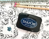 Navy Blue Ink Pad, Ultimate Permanent Ink Pad in Midnight by StazOn for mixed media