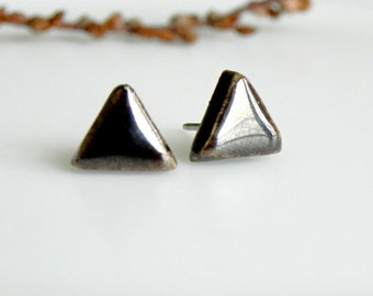 Men Earrings  Bronze Black Triangle Earrings Unisex Porcelain Stud Earrings Ceramic Post Earrings Geometric Pottery Surgical Steel Post