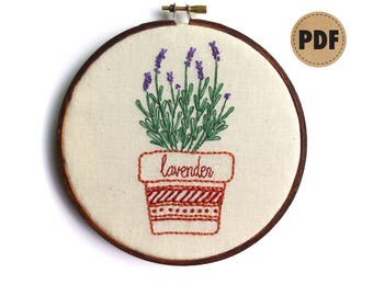 Lavender PDF Embroidery Pattern, Herb Art, Embroidery Design, Herb Garden Wall Hanging, Potted Herbs, Plant Lover, Digital Download
