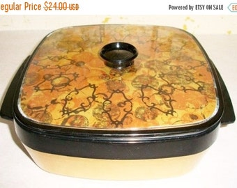 ON SALE Vintage Insulated Covered Container with a removeable pan cold or hot gold rust and black 3 piece Mid Century Modern