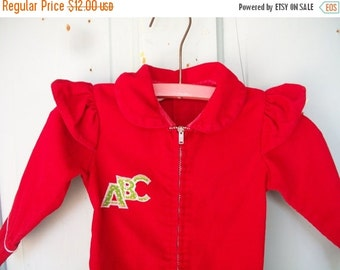 ON SALE Vintage Baby Girls Red Corduroy One Piece Long Sleeve Outfit ABC's Zipper Front Snap Crotch Size M 21-26 lbs