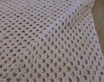 Pram, crocheted  blanket/cover/shawl, white, sparkly