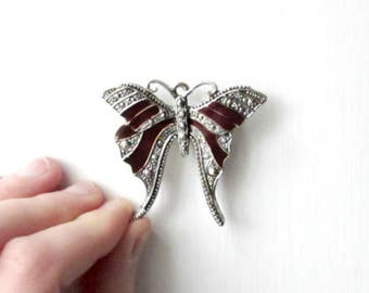 Butterfly Brooch Pin, Vintage Brooch, Silver Butterfly Pin with Burgundy Enamel Stripes, Something Old for Bride, Whimsical Bridal Brooch