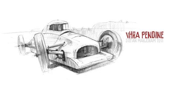 Streamliner - Original A3 Pencil Sketch