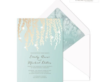Printable Wedding Invitation - Gold Olive Branches Wedding Invitation, Botanical Wedding Invitation