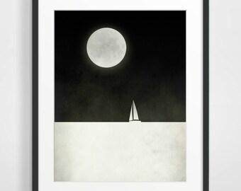 Full Moon Art Print Full Moon Poster Sailboat Art Black And White Art Minimalist Art Moon Nursery Poster Scandinavian Print Nordic Art