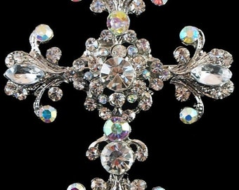 Rhinestone Brooch Pin - Rhinestone Crystal Brooch - Rhinestone Brooch - Cross Brooch