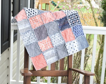 Baby Rag Quilt- Ready to ship, Navy rag quilt, Coral Rag quilt, patchwork baby quilt, homemade baby quilt, baby shower gift, baby blanket