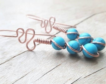 Three Stone Turquoise Copper Earrings