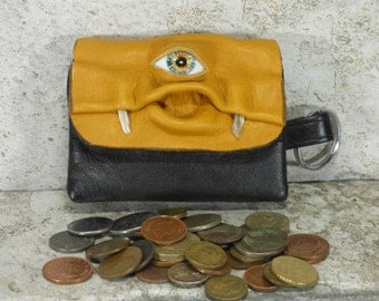 Monster Coin Purse Mustard Black Leather Zippered Change Purse With Face And Key Ring Harry Potter Labyrinth