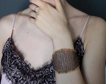 Wide Statement Cuff Bracelet - Copper Brass Wire Crochet Bracelet - Modern Elegant Unusual Bracelet - Lacy Wire Knit Bracelet - OOAK Jewelry