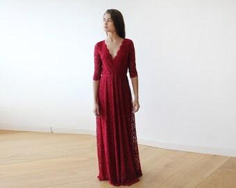 Bordeaux long sleeves lace gown, Lace Bordeaux gown 1124