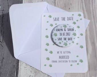 Save the Date Magnet Mint China Flowers Sample