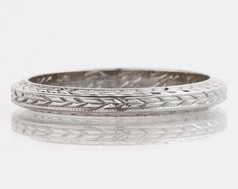 "Antique Wedding Band - Antique 18k White Gold ""Belais"" Engraved ""September 13, 1926"" Wedding Band"