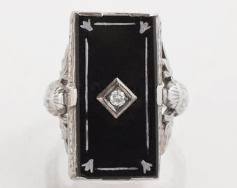 Antique Ring - Antique 18k White Gold Black Onyx and Diamond Ring