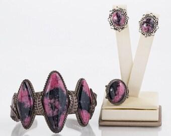 Vintage Set - Vintage Sterling Silver & Rhodochrosite 3-Piece Set - Cuff, Ring, Earrings