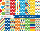 SALE - Digital Paper - Primary Colors, birthday paper, red blue yellow, myclipartstore, back to school, orange green, polka dot paper